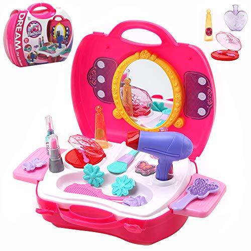 Buyger 21 Piezas Plástico Maletín Maquillaje Niña Princesa Belleza Peluquería Juguete Juego de rol para Niños