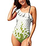 Hitecera Vertical Green Floral with Grape,Summer Swimsuit One Piece Swimsuit RuffledUp Leaves and Flowe
