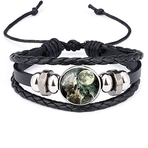 Armband Armreif,Schmuck Geschenk, Retro Style Leather Jewelry with Glass Cabochon Moon Wolf Pattern Beaded Charm Wrap Bracelet Bangles for Men Women Gift WS0652