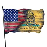 Us Don't Tread On Me Flag 3x5 Feet Outdoor/Indoor Retirement Decoration Family America Flag Translucent Single Side Banner Sign
