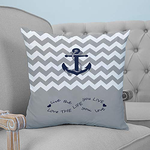 ARTSHOWING Pillow Covers Anchor 16x16 inches Canvas Couch Throw Pillows Zippered Square Pillow Case for Home Bedroom Living Room Cushion Cover Love Endless Wave Stripes