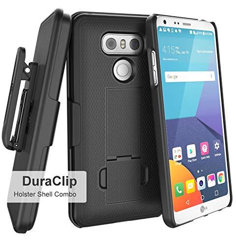 LG G6 Belt Holster, Encased Thin Fit [DuraClip Series] Slim Grip Case & Belt Clip (Smooth Black)