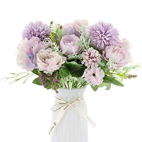 2 Packs Artificial Flower,Fake Peony Silk Hydrangea Bouquet Decor Plastic Realistic Flower Arrangements Wedding Party Table Centerpieces Decor Lavender Color