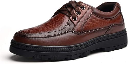 2019 Richelieus Homme, Hommes Noir Marron à Lacets Chaussures Oxford pour Hommes à Lacets Style Véritable en Cuir Fort Anti Slip Outsole Décontracté Durable Chaussures (Couleur   Marron, Taille   39 EU)