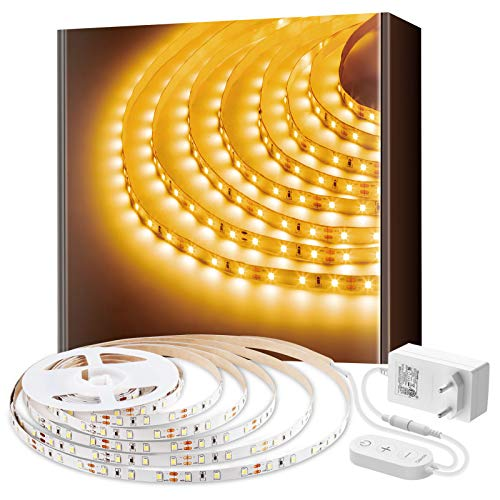 Govee 5m 3000K Warmweiss LED Strip, LED Lichtband, 300 LEDs, warmweiß, dimmbar, für Spiegel Deko Party Küche
