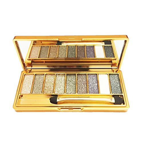 Glitter Eyeshadow Palette,9 Colors Sparkle Shimmer Eye Shadow Highly Pigmented Long Lasting Makeup Set Gold (Type 3)