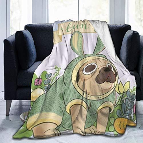 KOSALAER Bedding Manta,Pug Divertido de Dibujos Animados Disfrazado de Zanahoria Conejo,Mantas cálidas de Sala de Estar/Dormitorio Ultra Suaves para Todas Las Estaciones