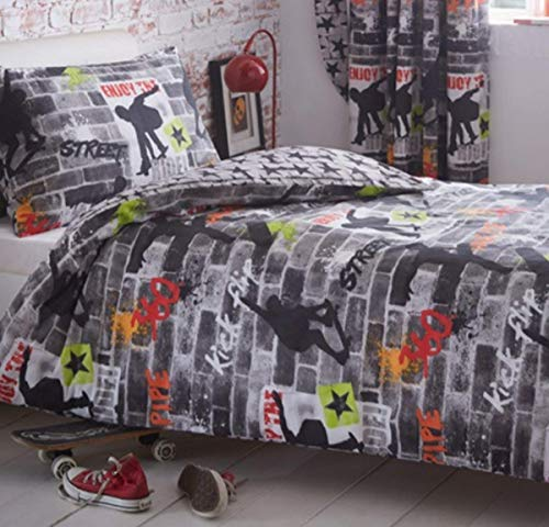 Kidz Club Teenagers Single Duvet Pillowcase Bed Cool Skateboards and Graffiti Quilt Cover Set In Grey-Tricks, Polyester-Cotton