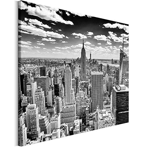 Revolio 40x30 cm Impression sur Toile Murale Tableau Art Peinture Image MotifModerne Décoration pour Le Salon Intérieur Photo - Ville New York Manhattan Noir et Blanc