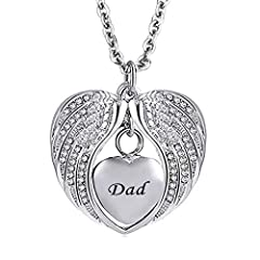 Material: Stainless Steel, Chain Length: 18 inch Dad Heart Love Angel Wings Urn Necklace This memorial pendant keepsake can holds small amount of dried flowers, dirt, special messages, hair, perfume, cremains & ashes This urn necklace could be used f...