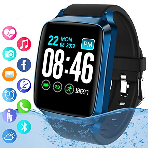 Smart Watch,Bluetooth Smartwatch IP67 Waterproof Fitness Tracker Watch with Heart Rate Monitor Sports Activity Tracker with Step Counter Smart Bracelet Wristband for Android iOS Phones Men Women Kids