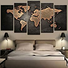 YYJHMK No Frame Paintings HD Abstract Canvas For Living Room Wall Art Poster 5 Pieces Retro World Map Decoration Pictures ...