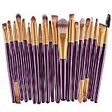 WEQQ Pro 20Pcs Superior Cosmetic Brushes Set Kit Pinceles para Herramientas de Maquillaje (Morado y Dorado)