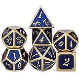 Dados de Metal Dice Games Juego de Dados, 7 Piezas Poliédricos Juego de Dados de Almacenaje para RPG Dungeons y Dragons D&D Enseñanza de Matemáticas