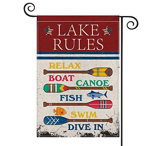 Lake Rules - Bandera de madera para jardín vertical de doble tamaño, para relajarse, canoa, natación, verano, patio, decoración al aire libre, 30 x 45 cm