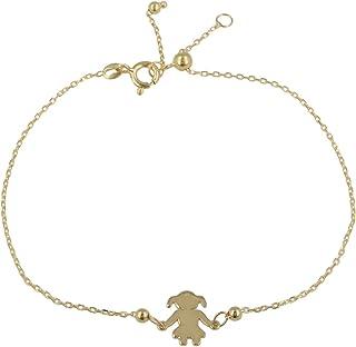 """Gioiello Italiano - Bracciale""""Bambina"""" in oro giallo 14kt, lunghezza regolabile tra 11 e 20cm, per donna e ragazza"""