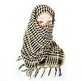 Shemagh Military Fashion Tactical Desert Keffiyeh Arab Scarf Checked 100% Cotton Head Wrap Checker Tattern, Golden Brown & Black