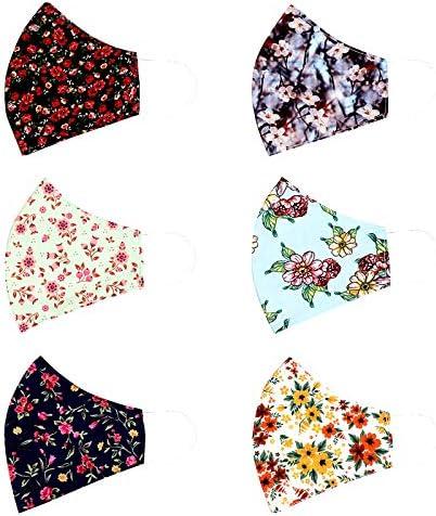 FRATELLO HOME-6 Pcs Fashion Flowers Cloth Face Mask - Adjustable Washable Cotton Masks for Adult