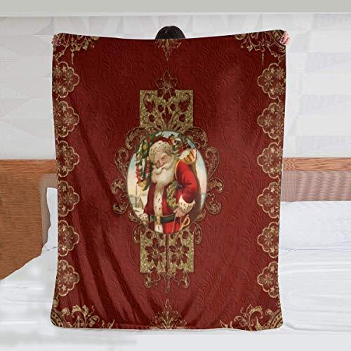 Manta de franela con detalles de Papá Noel con encaje dorado y joyas, súper suave y ligera, reversible para sofá/sofá/silla, 200 x 150 cm