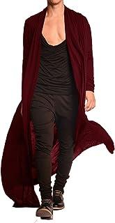 Men's Lightweight Ruffle Shawl Collar Cardigan Open Front Long Length Drape Cape Overcoat