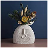 Lllunimon Jarrón De Flores Secas De Cerámica Blanca, Jarrones Nórdicos Divertidos para Rostro Humano, Decoración del Hogar, Manualidades Estéticas,D+Flower