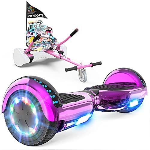 GeekMe Hoverboard mit Sitz, Elektroroller Hoverkart, Elektro Scooter Go-Kart mit Bluetooth-Lautsprecher LED-Leuchten, Geschenk für Kinder Jugendliche Erwachsen (Rose+pink Kart)
