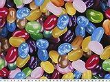 ab 1m: Karnevalsstoff, Digitaldruck, Bonbons, bunt, 150cm