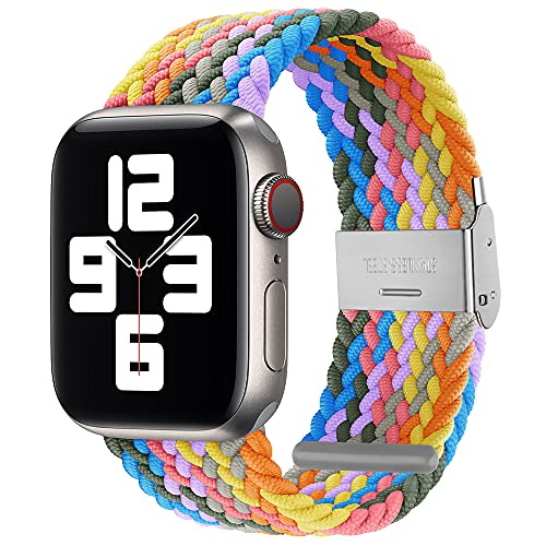 PROATL Sport Braided Solo Loop Strap Compatible With Apple Watch Band 44mm 42mm for Men and Women, Breathable Soft Wristband Stretchy Nylon Elastic Belt Bracelet for iWatch Series SE 6 5 4 3 2 1(Light Rainbow)