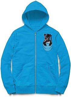 Fox Republic ブルドッグ 角帽 ポケット 犬 オーシャンブルー キッズ パーカー シッパー スウェット トレーナー 130cm