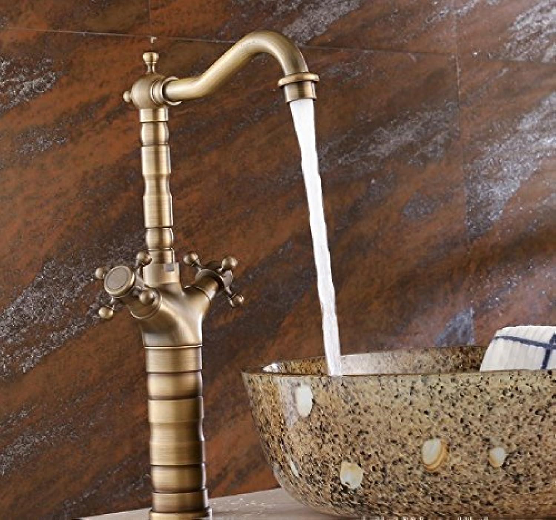 Mangeoo Faucet Archaize Tap, All Copper Art Basin, European Style Antique Basin, Double Handle Plus High Water Basin Faucet.