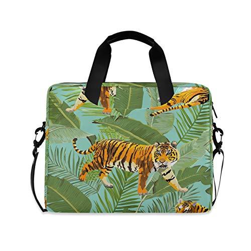 OOWOW - Maletín ligero para portátil de 14 a 15,6 y 16 pulgadas, diseño de tigre y hojas tropicales