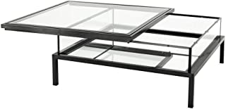 Bronze Sliding TOP Square Coffee Table | EICHHOLTZ Harvey | Modern Luxury Contemporary Elegant Glass top Center Table for Living Room