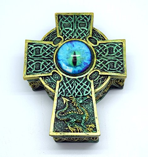 Fantasy Gifts Crafts and Arts Celtic Cross Eye Box Figurines, 5 1/2 x 4 1/2 x 2 1/2 inches, Multicolor