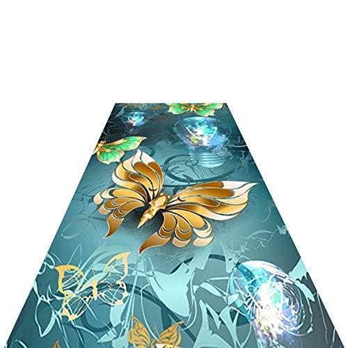 LSMK Tappeto Passatoia Corridoio Tappeto Runner Fantasia 3D, Bellissimo Motivo a Farfalla Tappetino Antiscivolo Tappetino per Corridoio Cucina Ufficio Arredamento Ingresso, Zerbino Lavabile Tappeto