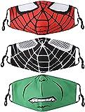 Mascarilla facial para niños, 3 piezas de dibujos animados reutilizable cubierta de tela de algodón para niños niñas niños regalo Spiderman
