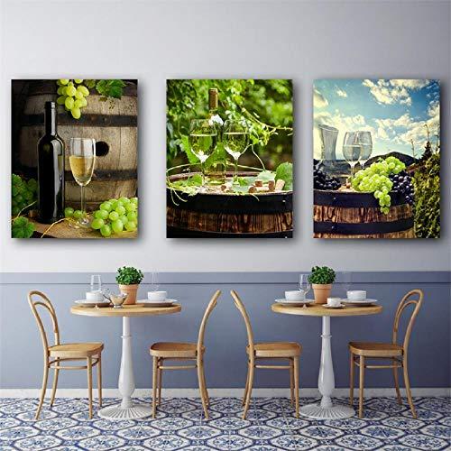Landelijke kunst canvas schilderkunst keuken bar home decor poster moderne huis decoratie champagne druif poster en afdrukken wandafbeeldingen 50x70cmx3 niet ingelijst