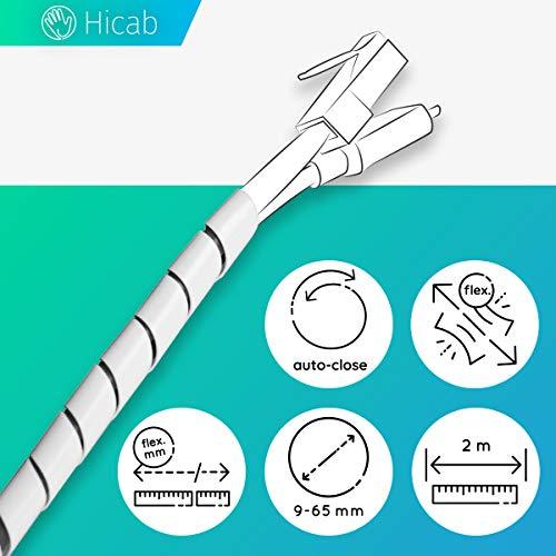 Hicab Spiral-Kabelschlauch 9-65 mm, 2 m, weiss. Kabelbuendler z.B. für Schreibtisch, PC, TV/Fernseher. Flex-Kabelspirale/Spiralband/Spiralkabelschlauch/Spiralkabelkanal/Wickelschlauch