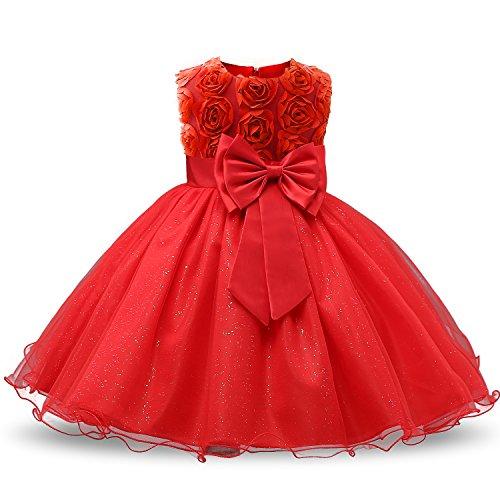 NNJXD Vestido de Fiesta de Princesa con Encaje de Flor de 3D sin Mangas para Niñas (2-3 años, Rojo)