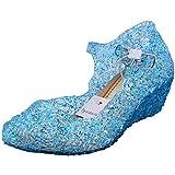 Tyidalin Niña Bailarina Zapatos de Tacón Disfraz de Princesa Zapatilla de Ballet para 3 a 12 Años Azul EU33