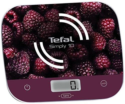 Tefal BC8000V0 Elektronische Küchenwaage Simply 10 Skala, 10 kg/1 g, Umwandlung flüssiger Tare, Himbeerrot