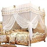 HAOT Mosquitera, Princesa Four Corner Post Elegante Cortina de Cama con Dosel Netting Bed Canopy Set Fácil instalación para Viajes de Dormitorio (120 * 200 * 200 cm)