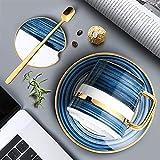 FJDISQ Juego de Taza de café de Estilo nórdico Copa de café Cerámica y Saucerwith Tapa y Cuchara Accesorios de Cocina para el hogar Creativo (Color : B)