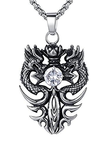 Acciaio inossidabile Collana con pendente da uomo o donna, Unise, drago spada con zirconia cubica, ciondolo con catena a maglia tonda