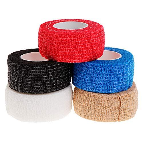 Yiwann Bande de kinésiologie bande élastique pour l'exercice, 5 rouleaux de ruban adhésif de sport pour le sport et la récupération des blessures
