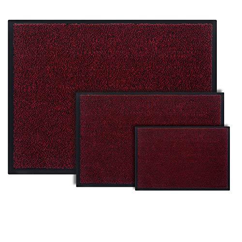 Entrando Schmutzfangmatte 60 x 40 cm in Rot - 6 Größen - Fußmatte Innen und Außen - Schmutzmatte für den Eingang - Waschbar - Teppich Fussmatte