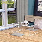 ONELUX Waterfall Clear Acrylic Tatami Tea Table,Lucite Bed Laptop U Tables-60W 40D 25H cm