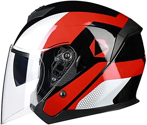 Casco de Moto de Cara Abierta Moto Crash Scooter Medio Casco Cascos de Carreras de Motociclismo Dot/ECE Medio Casco de Moto con Visera para Adultos Hombres Mujeres