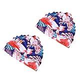 BESPORTBLE 2Pcs Cuffia da Nuoto Modello di Fiore Rosso Cuffie da Nuoto Elastiche Cappello ...
