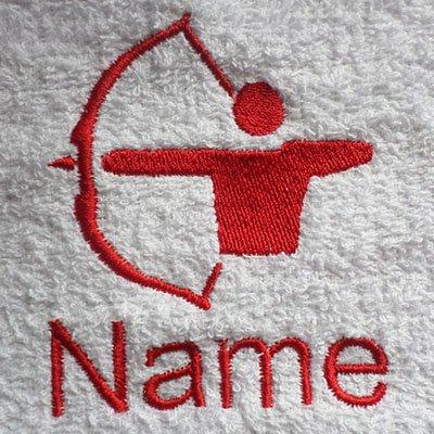 EFY Peignoir à capuche pour enfant avec logo ARCHERY et nom de votre choix en rose 2, 4, 6, 8, 10 ou 12 ans (4 ans)