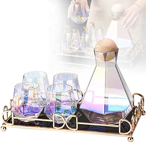 ZZJCY Botella Agua Vidrio Alta Gama, Colorida Y Hermosa (Juego De 4 Piezas + 4 Cucharas) Juego Vidrio Agua con Diamantes Whisky, Forma De Galvanoplastia Hermosa Y Única